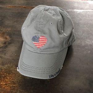 Life is good American flag heart ball cap